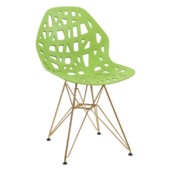 Design Edge Buronga  Green Side Chair with Gold Legs Side DE-22818664