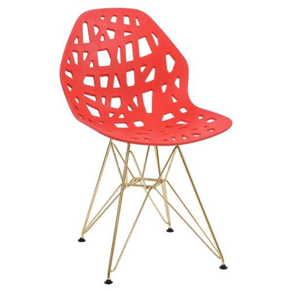 Design Edge Buronga  Red Side Chair with Gold Legs DE-22818684