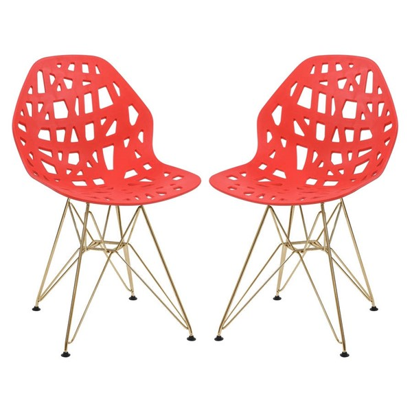 2 LeisureMod Akron Red Gold Legs Side Chairs LSM-AKG19R2
