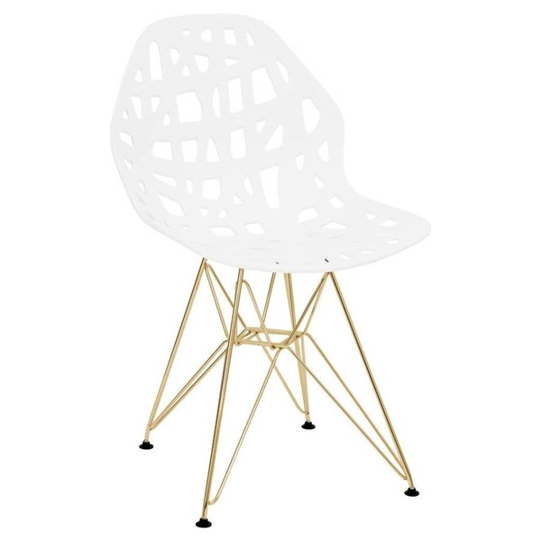 LeisureMod Akron White Side Chair with Gold Legs LSM-AKG19W