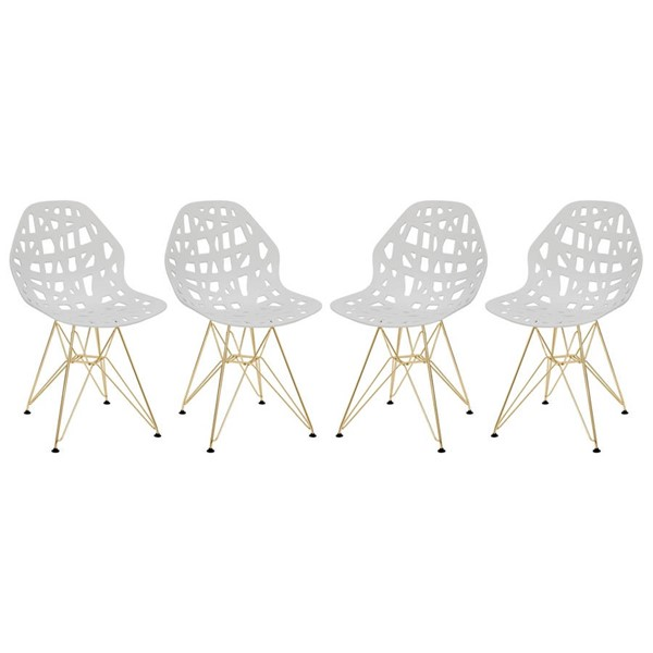 4 LeisureMod Akron White Gold Legs Side Chairs LSM-AKG19W4