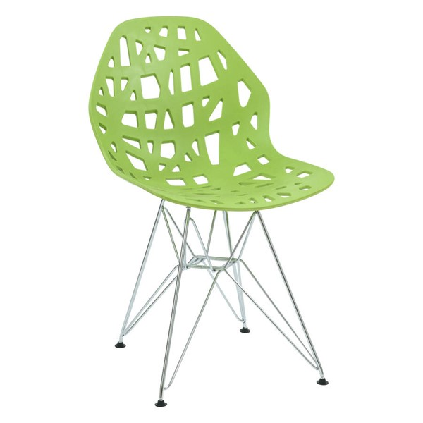 Design Edge Buronga  Green Side Chair with Chrome Legs DE-22365514