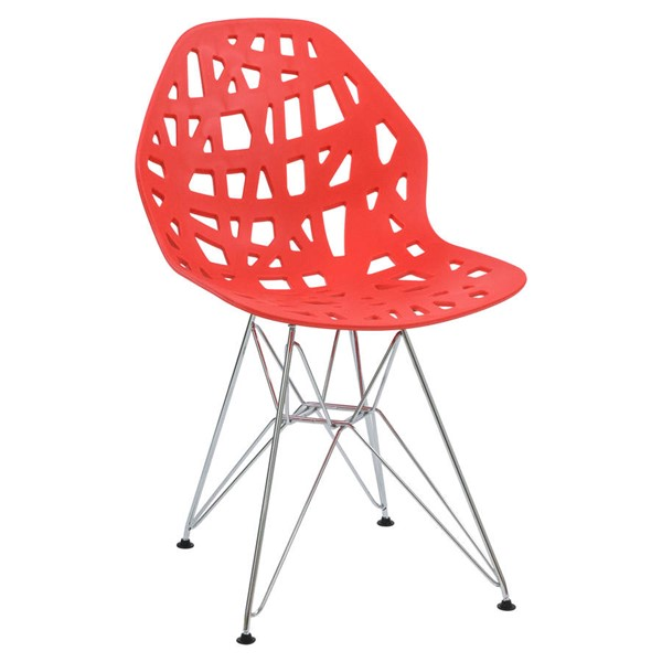 Design Edge Buronga  Red Side Chair with Chrome Legs DE-22365504