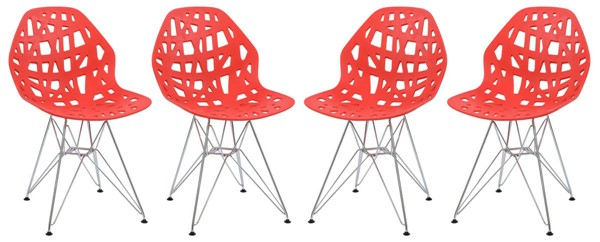 Design Edge Buronga 4  Red Chrome Legs Side Chairs DE-22365624