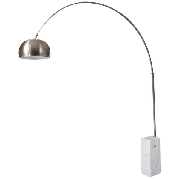 LeisureMod Arco White Marble Cube Base Lamp LSM-AL22W