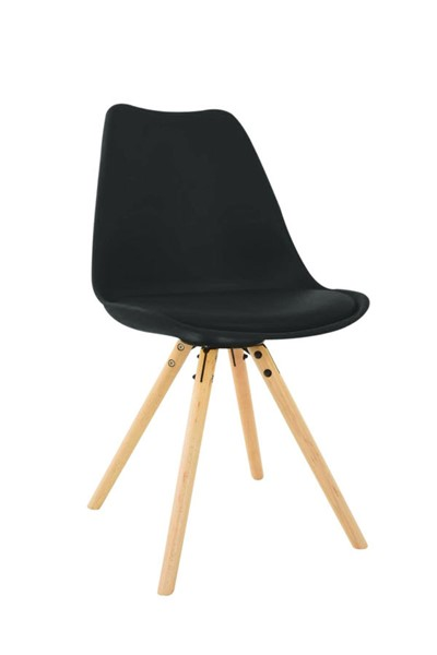 LeisureMod Andover Black Cushioned Seat and Wooden Legs Side Chair LSM-AN19BL