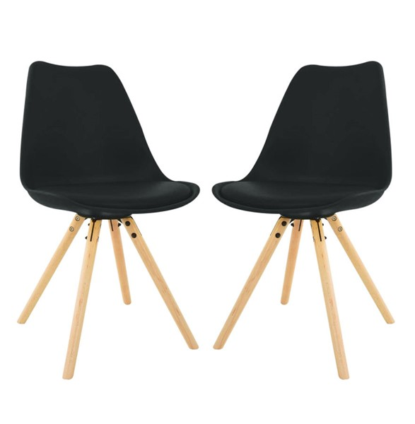 Design Edge Captains Flat 2  Black Cushioned Seat and Wooden Legs Dining Side Chairs DE-22994458