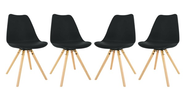 LeisureMod Andover Cushioned Seat and Wooden Legs Side Chairs LSM-AN19-4-DCH-VAR