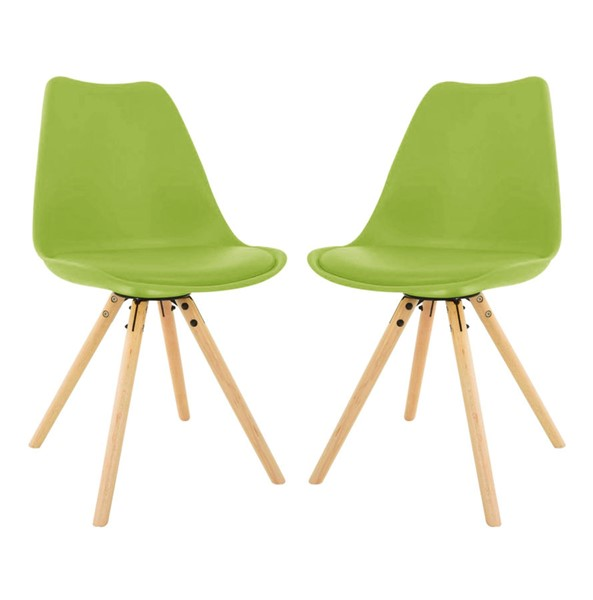 Design Edge Captains Flat 2  Green Cushioned Seat and Wooden Legs Dining Side Chairs DE-22994468