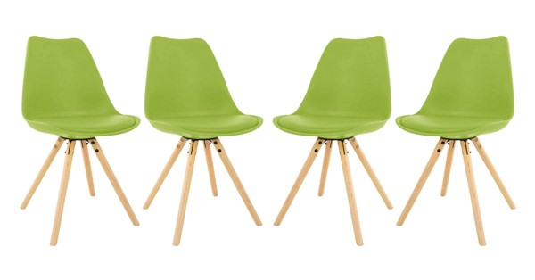 Design Edge Captains Flat 4  Green Cushioned Seat and Wooden Legs Dining Side Chairs DE-22994528