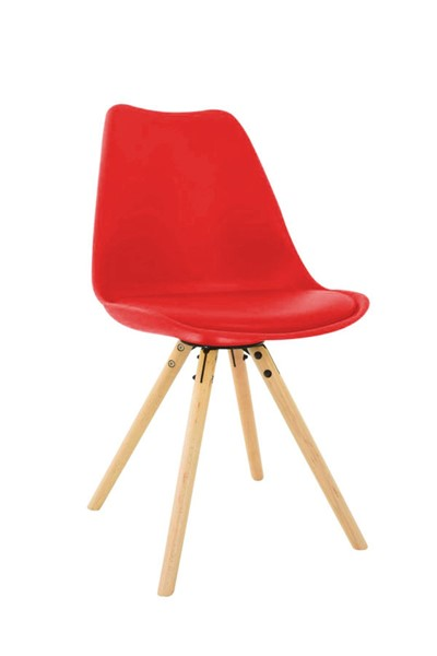 LeisureMod Andover Red Cushioned Seat and Wooden Legs Side Chair LSM-AN19R
