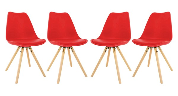 4 LeisureMod Andover Red Cushioned Seat and Wooden Legs Dining Side Chairs LSM-AN19R4
