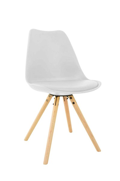 Design Edge Captains Flat  White Cushioned Seat and Wooden Legs Side Chair DE-22994438
