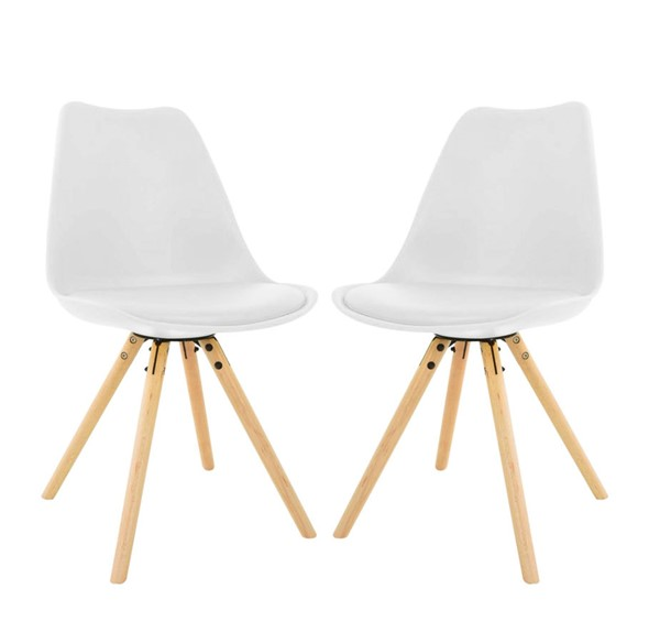 2 LeisureMod Andover White Cushioned Seat and Wooden Legs Dining Side Chairs LSM-AN19W2