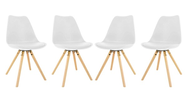 4 LeisureMod Andover White Cushioned Seat and Wooden Legs Dining Side Chairs LSM-AN19W4
