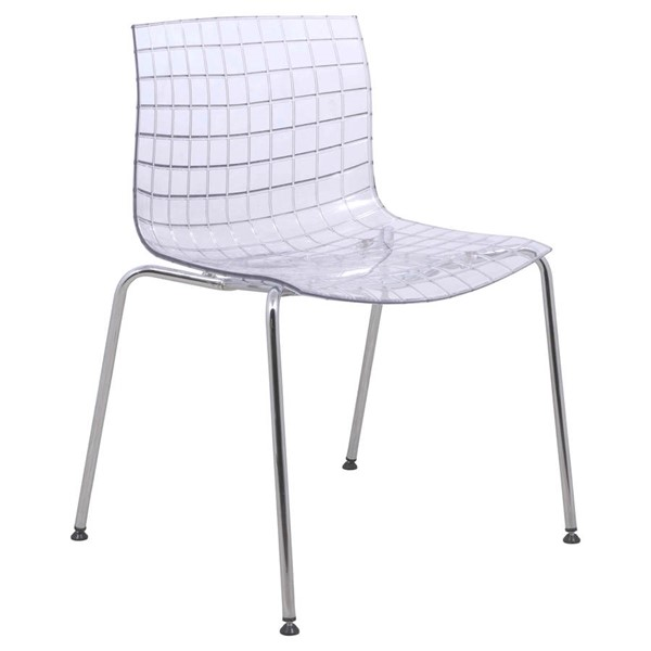 Design Edge Collarenebri  Clear Side Chair with Chrome Legs DE-22366137