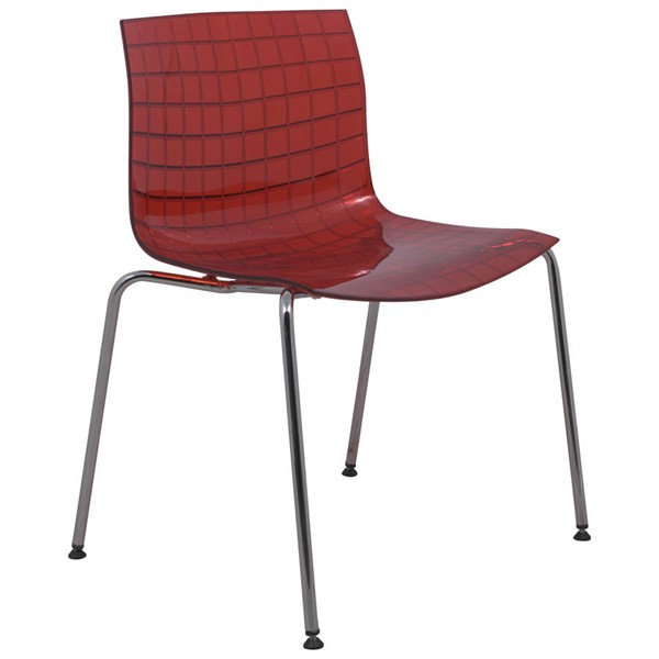 Design Edge Collarenebri  Transparent Red Side Chair with Chrome Legs DE-22366147