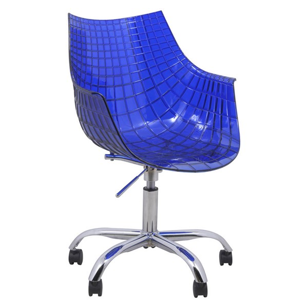 Design Edge Collarenebri  Blue Swivel Arm Chair with Chromed Legs DE-22366237