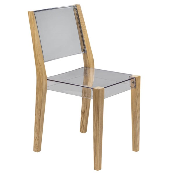 Design Edge Coolamon  Clear Chair with Wooden Frame DE-22366433