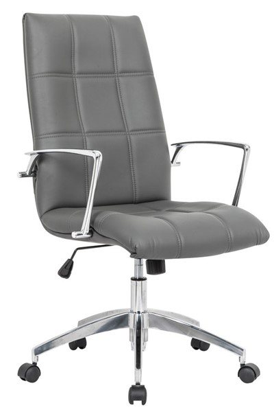 LeisureMod Benmar Home Grey Leather Office Chair LSM-BO19GRL