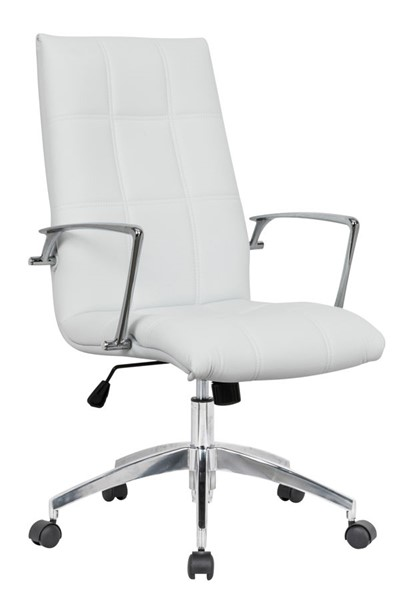 LeisureMod Benmar Home White Leather Office Chair LSM-BO19WL