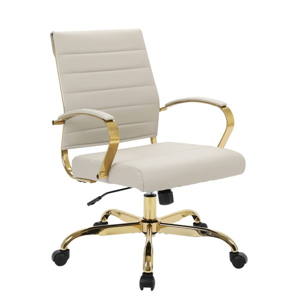 LeisureMod Benmar Home Tan Leather Office Chair With Gold Frame LSM-BOG19TL
