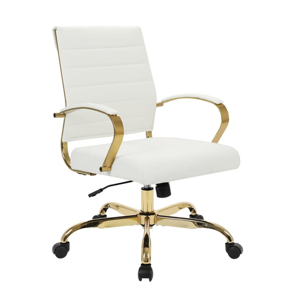 LeisureMod Benmar Home White Leather Office Chair With Gold Frame LSM-BOG19WL