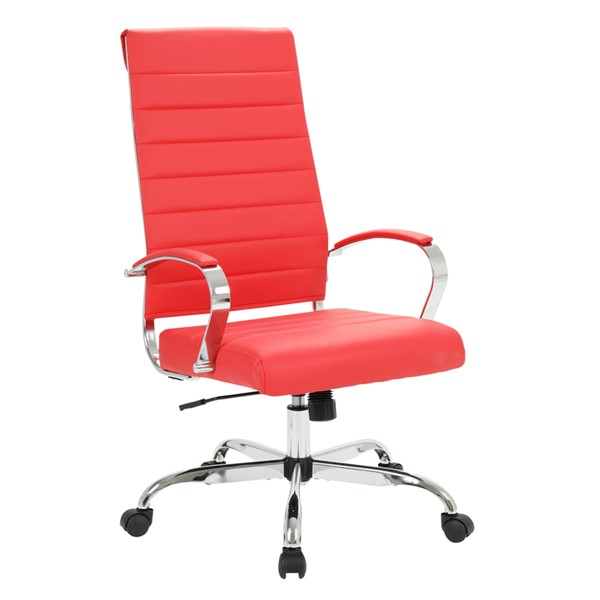 LeisureMod Benmar Home Red Leather High Back Office Chair LSM-BOT19RL