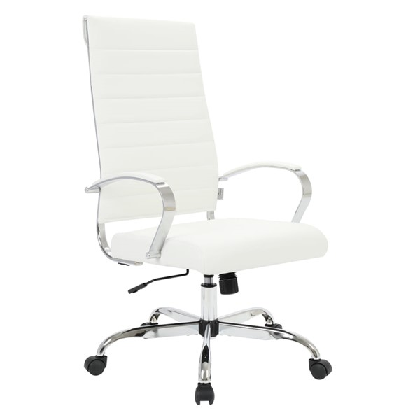 LeisureMod Benmar Home White Leather High Back Office Chair LSM-BOT19WL