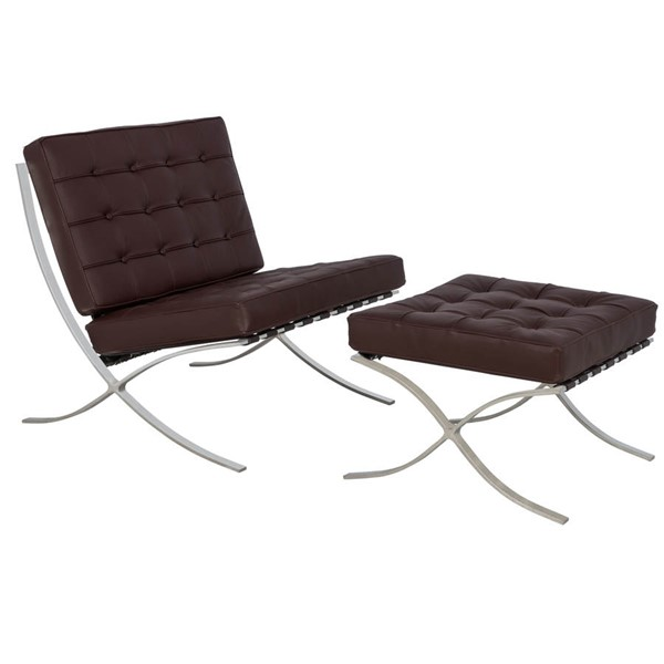 Design Edge Coolongolook  Dark Brown Pavilion Chair and Ottoman Set DE-22818906