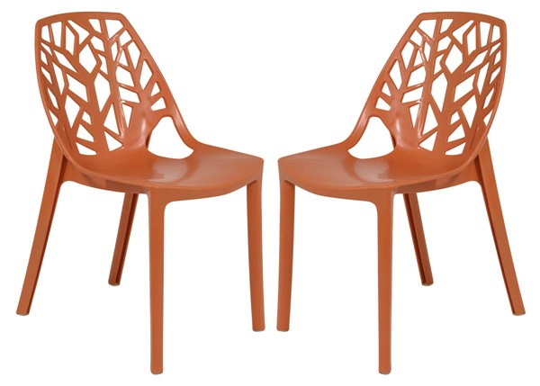 Design Edge Dapto 2  Solid Orange Dining Chairs DE-22819281