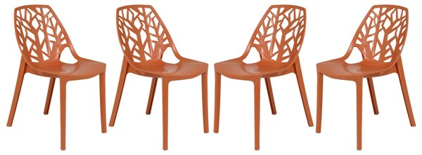 4 LeisureMod Cornelia Solid Orange Dining Chairs LSM-C18OR4