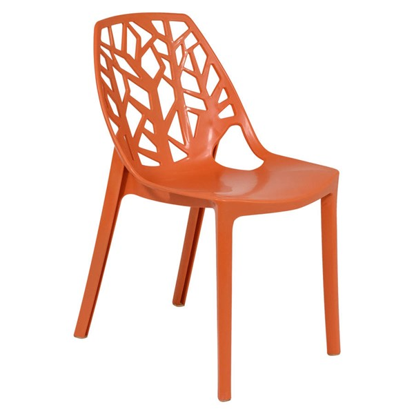 LeisureMod Cornelia Orange Plastic Dining Chair LSM-C18OR