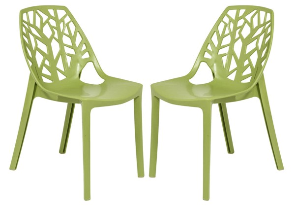 2 LeisureMod Cornelia Solid Green Dining Chairs LSM-C18SG2