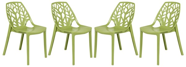 Design Edge Dapto 4  Solid Green Dining Chairs DE-22367371