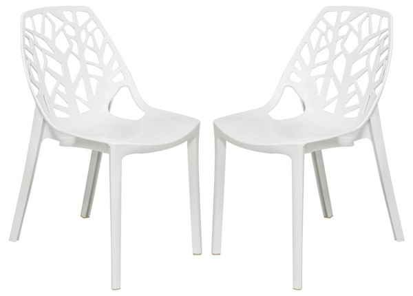 2 LeisureMod Cornelia Solid White Dining Chairs LSM-C18SW2