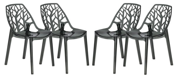 4 LeisureMod Cornelia Transparent Black Dining Chairs LSM-C18TBL4