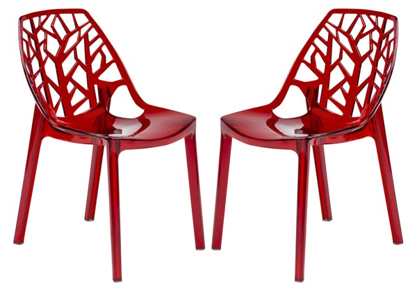 Design Edge Dapto 2  Transparent Red Dining Chairs DE-22367301