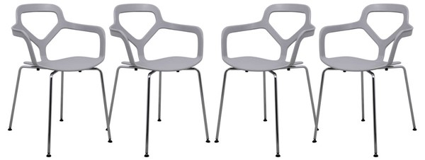 Design Edge Cooranbong 4  Light Grey Chrome Legs Arm Chairs DE-22366895