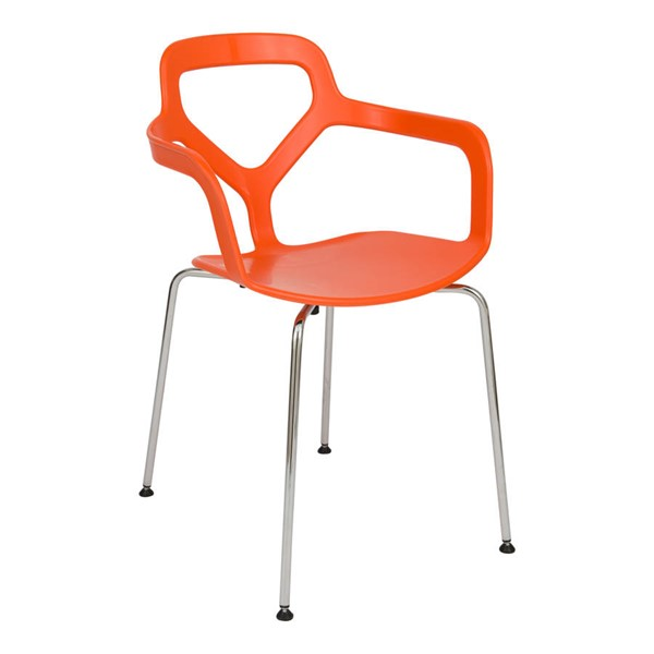 Design Edge Cooranbong  Orange Arm Chair with Chrome Legs DE-22366835