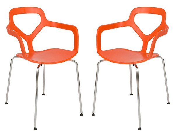 Design Edge Cooranbong 2  Orange Chrome Legs Arm Chairs DE-22366875