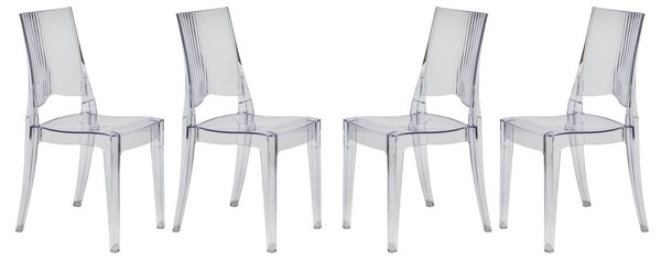 Design Edge Cumnock 4  Clear Transparent Dining Modern Chairs DE-22367218