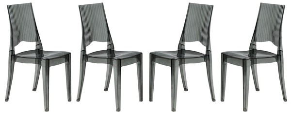 Design Edge Cumnock 4  Transparent Black Dining Modern Chairs DE-22367228
