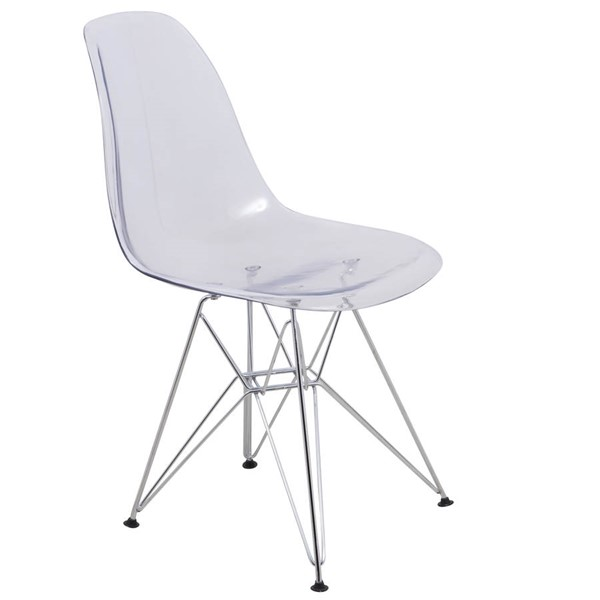 Design Edge Dareton  Clear Transparent Molded Eiffel Side Chair DE-22367396
