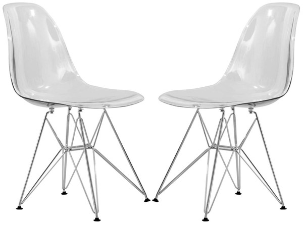 2 LeisureMod Cresco Clear Molded Eiffel Side Chairs LSM-CR19CL2