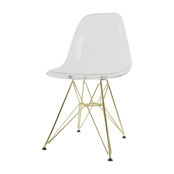 LeisureMod Cresco Clear Plastic Eiffel Side Chair LSM-CR19CLG