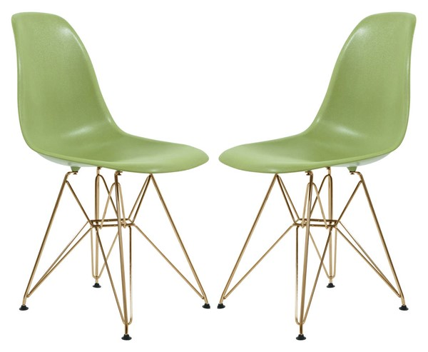 2 LeisureMod Cresco Solid Green Molded Gold Base Eiffel Side Chairs LSM-CR19SGG2