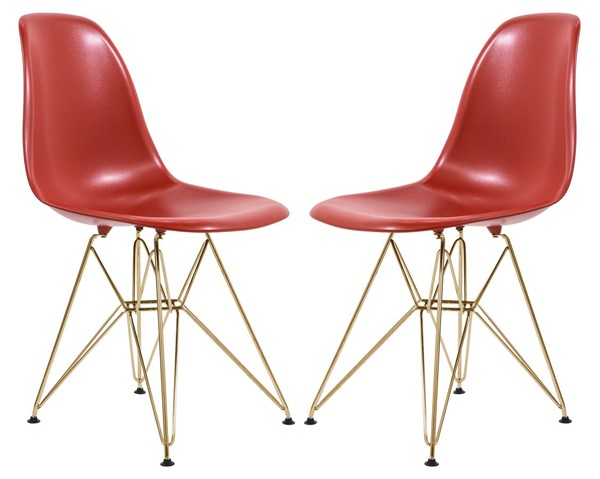 2 LeisureMod Cresco Solid Red Molded Gold Base Eiffel Side Chairs LSM-CR19SRG2