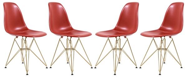 Design Edge Dareton 4  Solid Red Molded Gold Base Eiffel Side Chairs DE-22819516