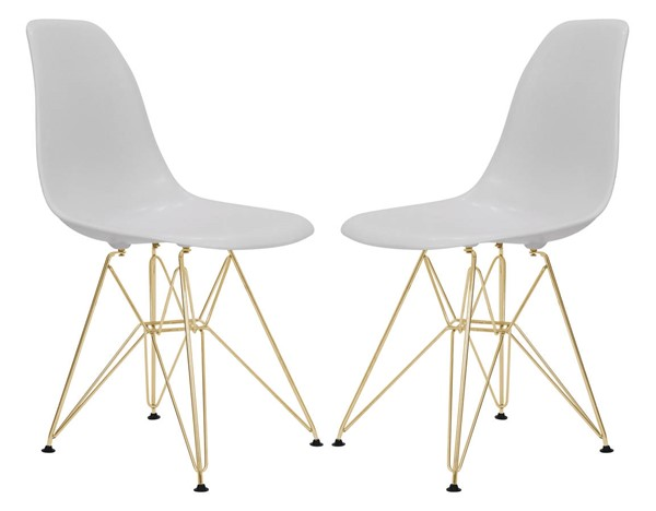 2 LeisureMod Cresco Solid White Molded Gold Base Eiffel Side Chairs LSM-CR19SWG2